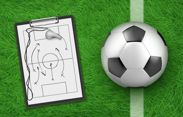 Fußballtaktik und ball Kostenlosen Vektoren