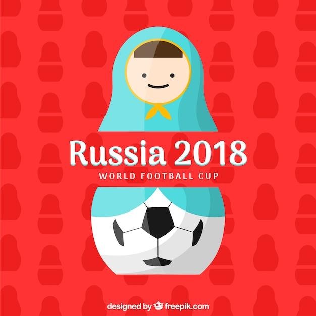 Fußballtasseentwurf 2018 mit matroschka Kostenlosen Vektoren