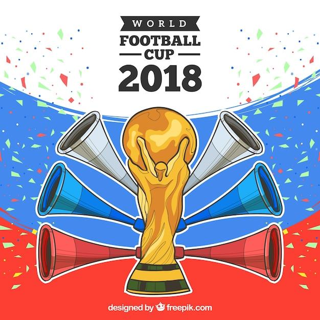 Fußballtassenentwurf 2018 mit trophäe Kostenlosen Vektoren
