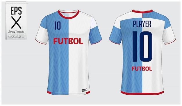 Fußballtrikot- oder fußballausrüstungsschablonendesign Premium Vektoren