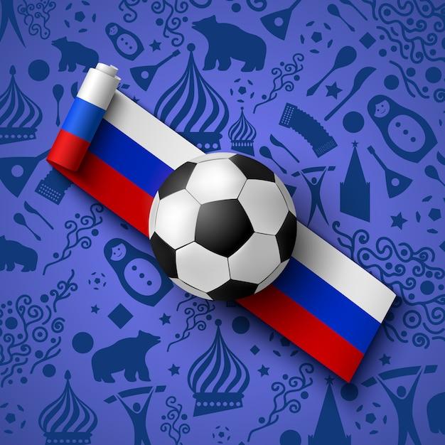 Fußballturnier mit schwarzweiss-fußball, russischer flagge und symbolen. Premium Vektoren