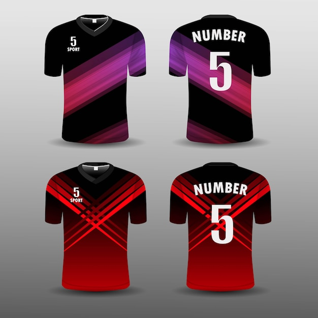 Fußballverein t-shirt sport set design. Premium Vektoren