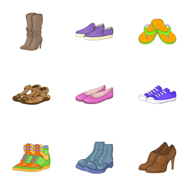 Fußpflegeset, cartoon-stil Premium Vektoren