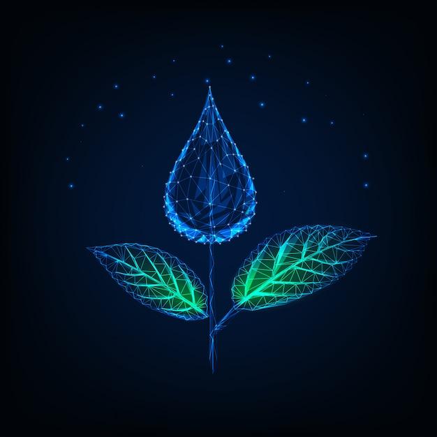 Futuristisch leuchtende niedrige polygonale pflanze aus wassertropfen Premium Vektoren