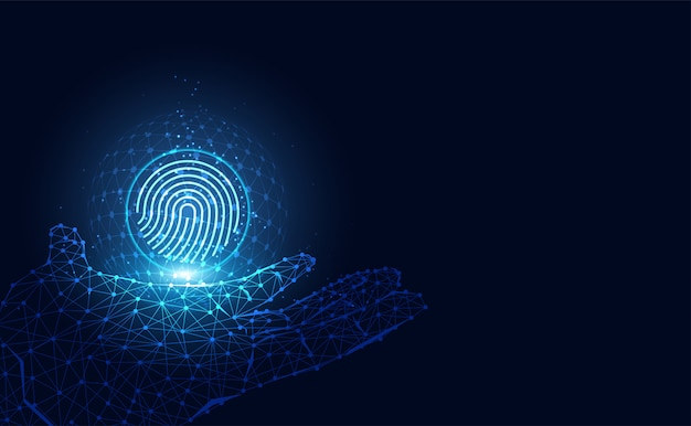 Futuristisch mit fingerabdrücken und digitalem drahtgitter Premium Vektoren