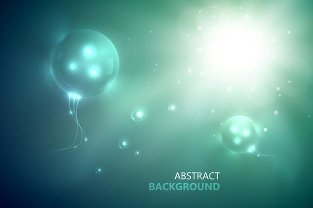 Futuristische abstrakte vorlage mit glänzendem blitz, innovativ leuchtenden kreisen und lichteffekten auf unscharfem hintergrund Kostenlosen Vektoren
