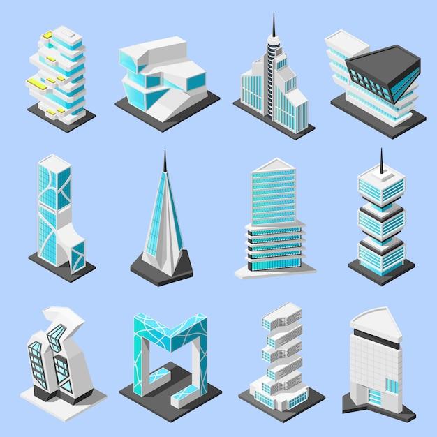 Futuristische architektur isometrische set Kostenlosen Vektoren