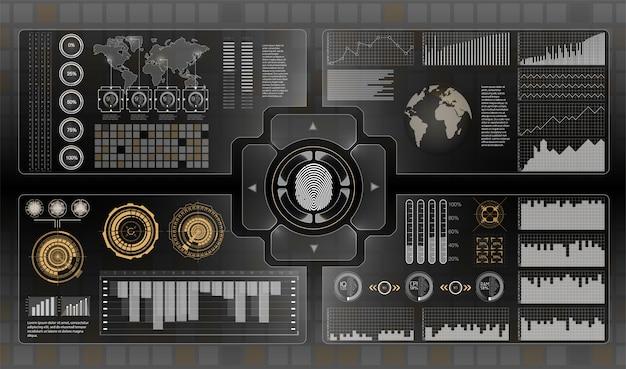 Futuristische benutzeroberfläche. infografiken von güterverkehr und transport Premium Vektoren