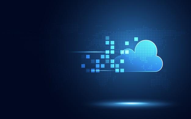 Futuristische blaue wolke mit abstraktem technologiehintergrund der digitalen transformation des pixels Premium Vektoren