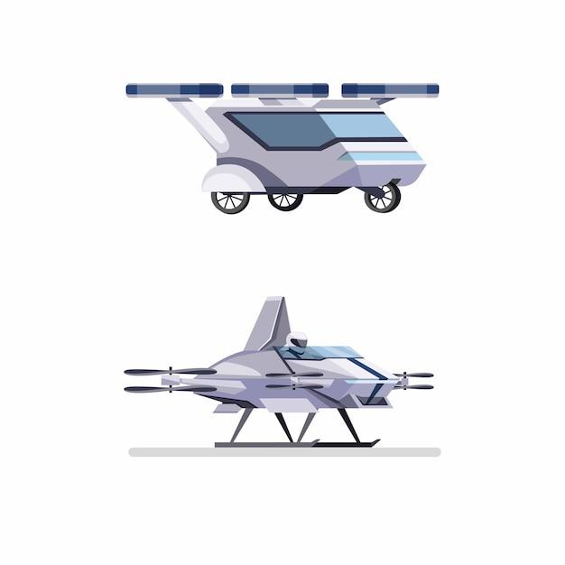 Futuristische fliegende auto-drohne mit passagierkonzept in der flachen karikaturillustration lokalisiert im weißen hintergrund Premium Vektoren