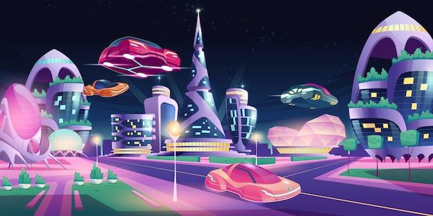 Futuristische gebäude der zukünftigen nachtstadt, die autos fliegen Kostenlosen Vektoren