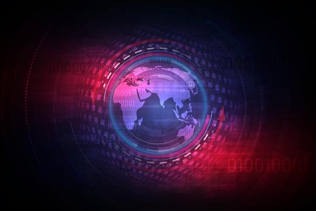 Futuristische globalisierungskugel im hologrammhintergrund Premium Vektoren