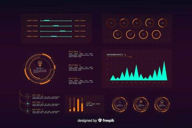Futuristische holographische infographik elementsammlung Kostenlosen Vektoren