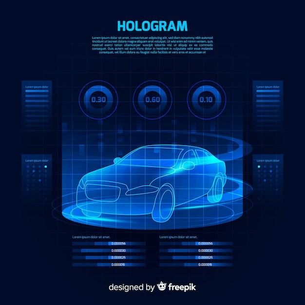 Futuristische holographische schnittstelle eines autos Kostenlosen Vektoren