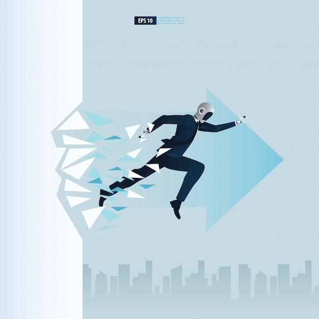 Futuristische humanoide geschäftsleute mit technologiekonzept der künstlichen intelligenz. roboter bricht das wandglas. durchbruch illustration Premium Vektoren