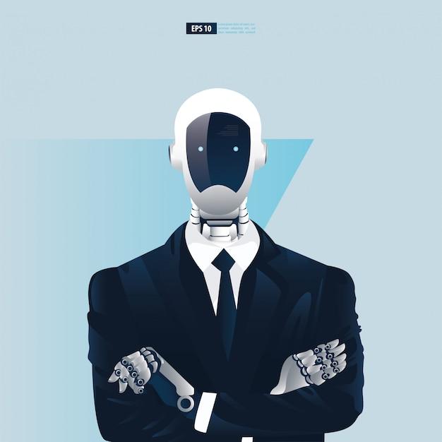 Futuristische humanoide geschäftsleute mit technologiekonzept der künstlichen intelligenz. roboter büroangestellte illustration Premium Vektoren