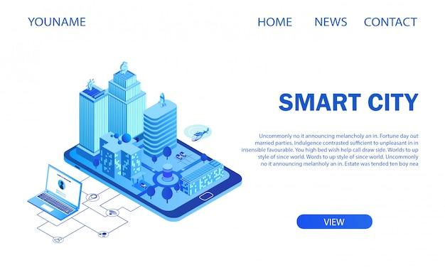 Futuristische intelligente großstadt auf smartphone-bildschirm Premium Vektoren