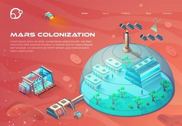 Futuristische landingpage-webvorlage mit illustration der mars-kolonisierung. Premium Vektoren