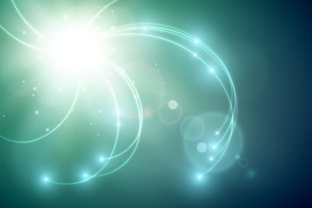 Futuristische lichtschablone mit hellem blitz und welligen leuchtenden linien auf unscharfem hintergrund Kostenlosen Vektoren