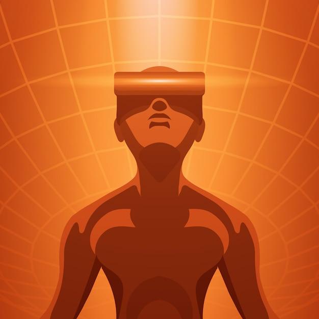 Futuristische männliche figur im vr-headset Premium Vektoren