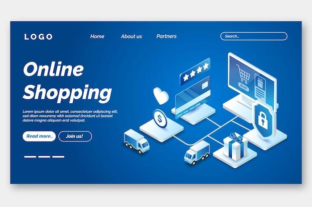Futuristische online-landingpage-vorlage für einkäufe Kostenlosen Vektoren