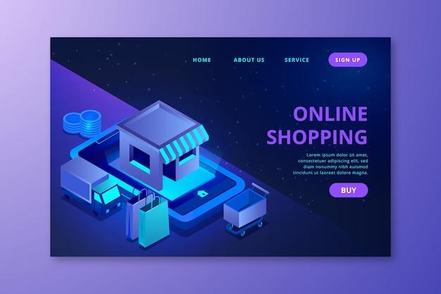 Futuristische online-shopping-landingpage Kostenlosen Vektoren