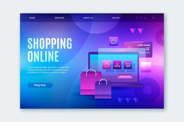 Futuristische online-shopping-landingpage Premium Vektoren