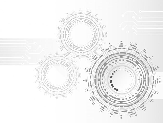 Futuristische saubere technologiezahnrad-technologie-leiterplatte Premium Vektoren