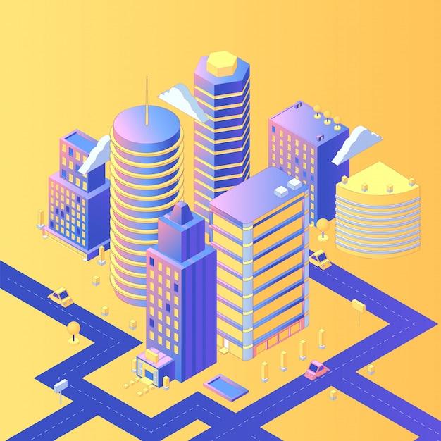 Futuristische stadt isometrisch Premium Vektoren