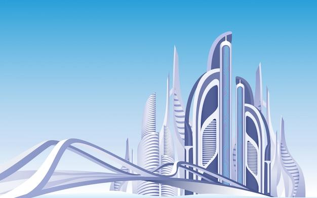 Futuristische stadtstadtansicht-tageszeitstadtbild. Premium Vektoren