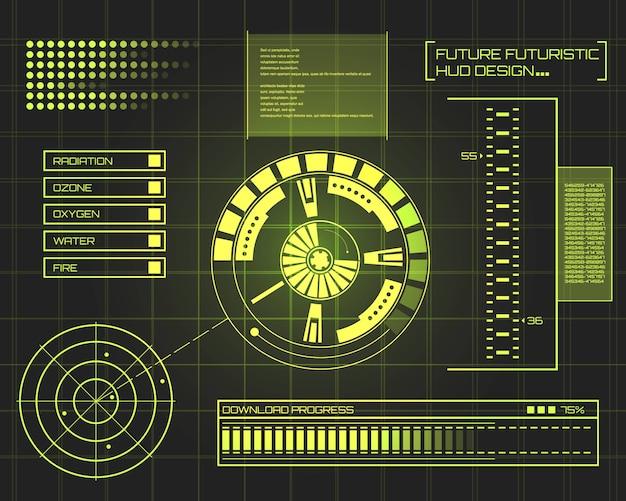 Futuristische technologie schnittstelle hud ui hintergrund. Premium Vektoren
