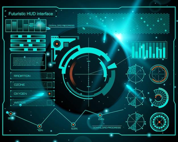 Futuristische technologie-schnittstelle hud ui Premium Vektoren