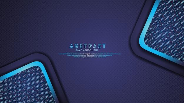 Futuristische und dynamische dunkelblaue überlappung überlagert hintergrund mit funkelneffekt. realistisches diagonales formmuster auf strukturiertem dunklem hintergrund Premium Vektoren
