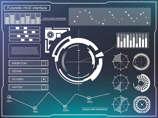 Futuristische virtuelle touch-benutzeroberfläche hud. Premium Vektoren