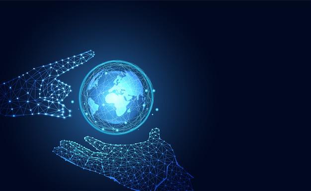 Futuristische welt der technologie und hand wireframe blaues digitales Premium Vektoren