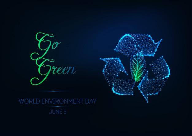 Futuristische weltumwelttag-netzfahne mit dem glühen niedrig polygonal bereiten zeichen und grünes blatt auf. Premium Vektoren