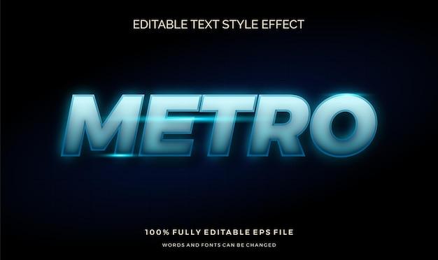 Futuristischer blaulicht-textstileffekt. bearbeitbare schriftart Premium Vektoren