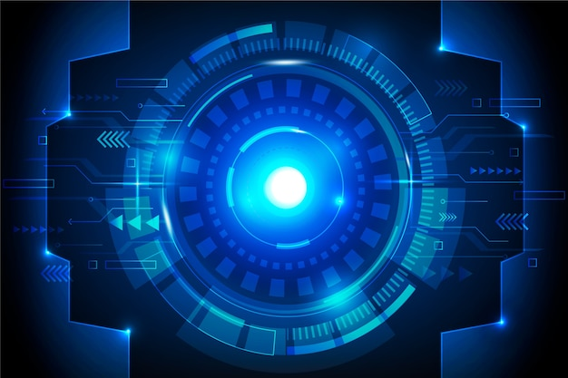 Futuristischer cyber eye technologie hintergrund Premium Vektoren