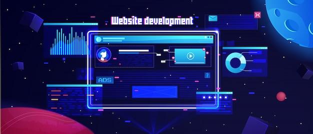 Futuristischer flacher websiteentwicklungshintergrund Premium Vektoren