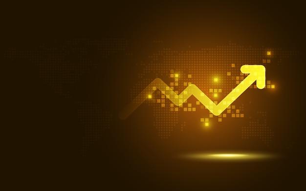 Futuristischer golderhöhungspfeildiagramm-zusammenfassungs-technologiehintergrund Premium Vektoren