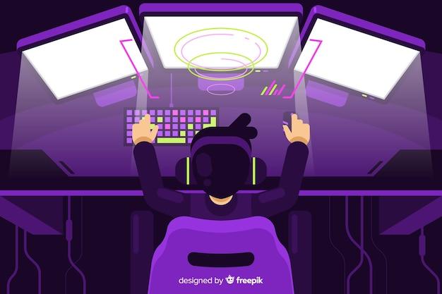 Futuristischer hintergrund eines computerspielers Kostenlosen Vektoren