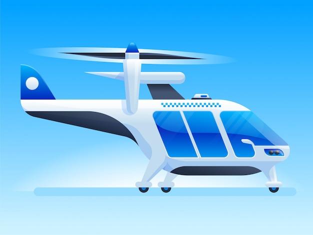 Futuristischer hubschrauber im flachen stil Premium Vektoren
