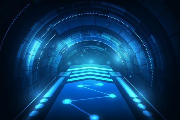 Futuristischer konzepthintergrund der high-techen geschwindigkeitsverbindung Premium Vektoren