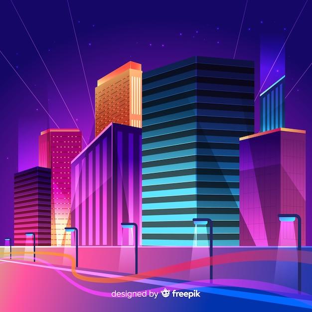 Futuristischer nachtstadthintergrund Kostenlosen Vektoren
