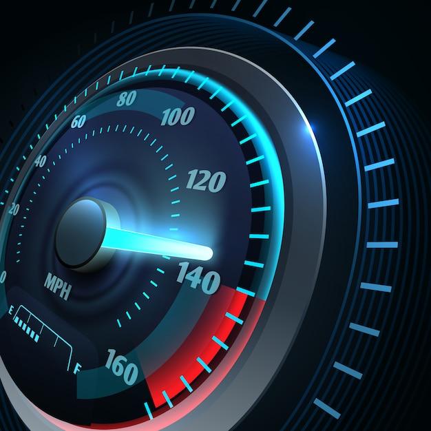 Futuristischer sportwagentacho. abstrakter geschwindigkeitsrennenvektor. geschwindigkeitsmesser- und geschwindigkeitsautoausrüstung, schnell und energieillustration Premium Vektoren
