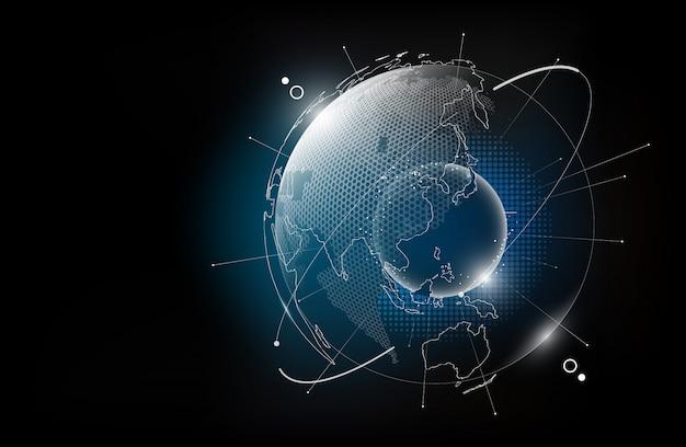 Futuristischer technologieglobus im hologramm-globalisierungskonzept, weltkarten-sechseckmuster transparent für digitales grafisches element, illustration Premium Vektoren
