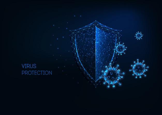 Futuristischer virenschutz mit leuchtend niedrigem polygonalen schild und viruszellen. Premium Vektoren