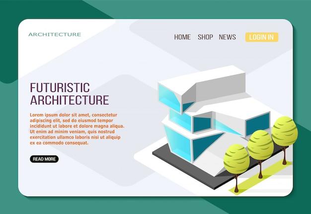 Futuristisches architekturgebäude aus isometrischer landungswebseite aus glas und beton auf licht Kostenlosen Vektoren
