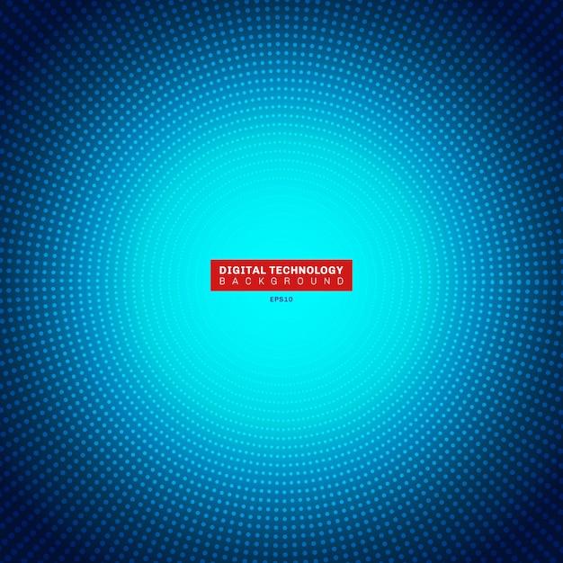 Futuristisches blaues neonradiallicht des digitalen konzeptes der technologie Premium Vektoren