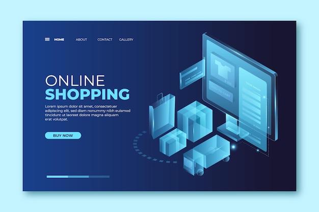 Futuristisches einkaufen online-landingpage-konzept Kostenlosen Vektoren